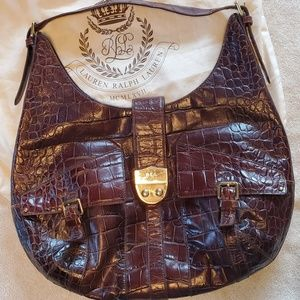 Ralph Lauren brown leather  hobo bag